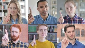 Collage of young people saying no with finger gesture