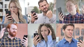 Collage of young people in shock while using smartphone stock footage