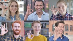 Collage of young people showing approval gesture with hand stock footage
