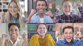 Collage of young people showing gesture of victory with hands stock video footage