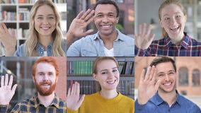 Collage of young people waving at the camera stock video footage