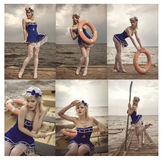 Collage of young retro pinup girl. With sexy blond curly hair style and beautiful makeup wearing sailor uniform Royalty Free Stock Image