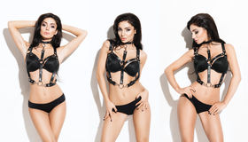 Collage of young and sexy women posing in erotic lingerie Stock Image