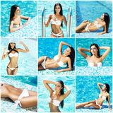 Collage of young and sexy women in swimsuits Royalty Free Stock Photos