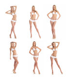 A collage of young sexy women in white swimsuits Royalty Free Stock Image