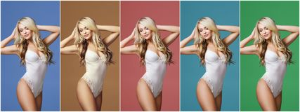 Collage of a young, sporty and fit woman in white underwear over different colorful background. Fashion and beauty. Collage of a young, sporty and fit girl in Stock Photos