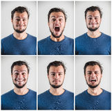 Collage of young stylish man expressions Royalty Free Stock Photo