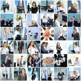 Collage of young and successful business people Stock Photos