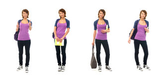 A collage of young teen women in casual clothes Stock Images