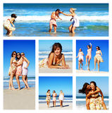Collage of young woman on the beach stock photos
