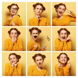 Collage of young  woman different facial expressions Royalty Free Stock Photo