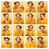 Collage of young  woman different facial expressions. Over yellow background Stock Photos