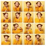 Collage of young  woman different facial expressions Royalty Free Stock Photography
