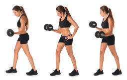 Collage of a young woman doing exercise Royalty Free Stock Images