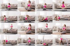 Collage of young woman doing fitness exercises at home. Collage of different fitness exercises. Slim brunette woman doing workout at home. Active, healthy royalty free stock images