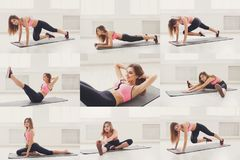 Collage of young woman doing fitness workout. Collage of different fitness exercises. Sporty woman having training at gym. Active, healthy lifestyle concept stock image