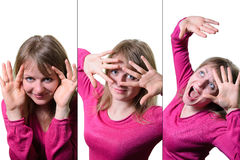 Collage of a young woman expressing different emotions and feelings. on a white background Royalty Free Stock Photos