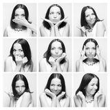 Collage of young woman face expressions Stock Photography