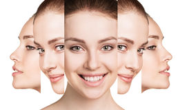 Collage of young woman face. Collage of young woman face over white background. Spa concept stock images