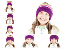 Collage of a young woman having a hot drink. Against a white background Royalty Free Stock Photo