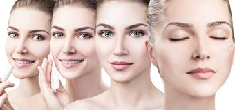 Collage of young woman makes beautician procedures Stock Images