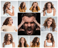 The collage of young woman and male emotions. The collage of young women and male emotions. Concept headache, fatigue and despair of a men from the nature of a Stock Images