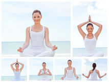 Collage of a young woman practicing yoga Royalty Free Stock Photos