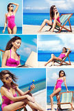 A collage of young woman relaxing on the beach Stock Image