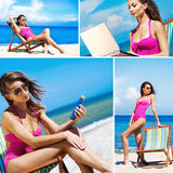 A collage of young woman relaxing on the beach Royalty Free Stock Images