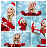 Collage of young woman in Santa Claus clothes Stock Photo