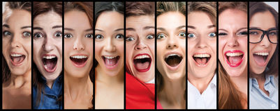 The collage of young woman smiling face expressions Stock Photography
