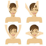 Collage of young woman in spa salon getting facial massage Stock Images