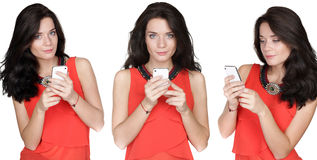 Collage, young women in the hands of mobile phone Royalty Free Stock Photo