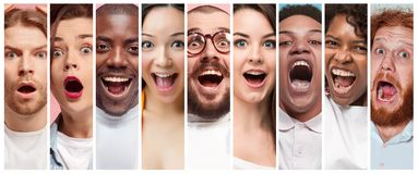 The collage of young women and men smiling face expressions stock photography