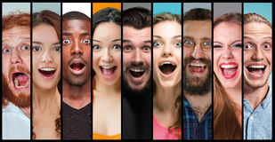 The collage of young women and men smiling face expressions Royalty Free Stock Photography