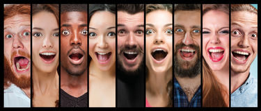 The collage of young women and men smiling face expressions Royalty Free Stock Photos