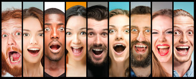 The collage of young women and men smiling face expressions Stock Photo