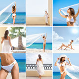 Collage of young women relaxing on the beach Royalty Free Stock Images