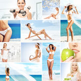 Collage of young women relaxing and working out Royalty Free Stock Images