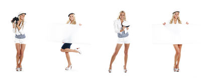 A collage of young women in sailor clothes on white Royalty Free Stock Images