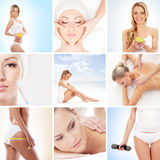 A collage of young women on a spa massage Royalty Free Stock Images