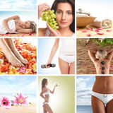 A collage of young women on spa procedures royalty free stock photography