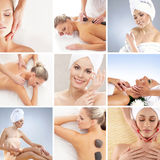 A collage of young women after taking a bath Stock Image