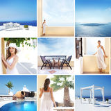 A collage of young women in tourista places Royalty Free Stock Image