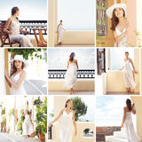 A collage of young women in tourista places Royalty Free Stock Photo