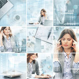 Collage of young women working in an office Royalty Free Stock Images