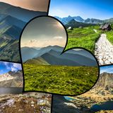Collage of Zakopane mountains national park in Polonia Royalty Free Stock Photography