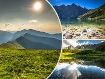Collage of Zakopane mountains national park in Polonia Stock Photos