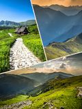 Collage of Zakopane mountains national park in Polonia Royalty Free Stock Image