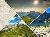Collage of Zakopane mountains national park in Polonia Stock Photo